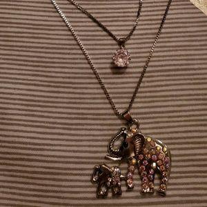 NWT 2 layered Betsey Johnson Elephant Necklace